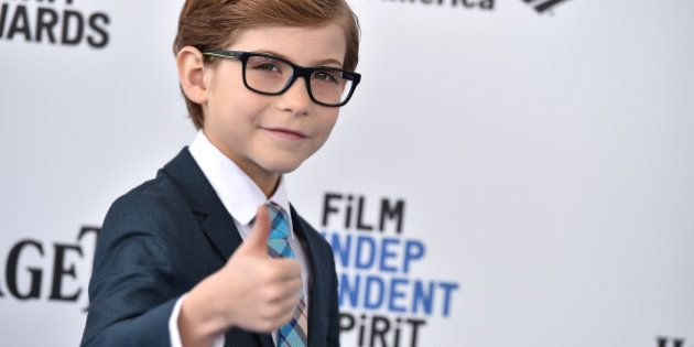 Jacob Tremblay arrives at the Film Independent Spirit Awards on Saturday, Feb. 27, 2016, in Santa Monica,...