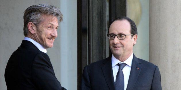 PHOTOS. Sean Penn reçu par François Hollande à l'Elysée pour évoquer la situation humanitaire à