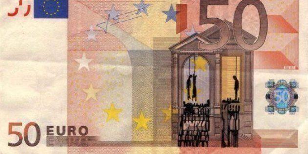 La crise financière grecque illustrée sur des billets de banque par un
