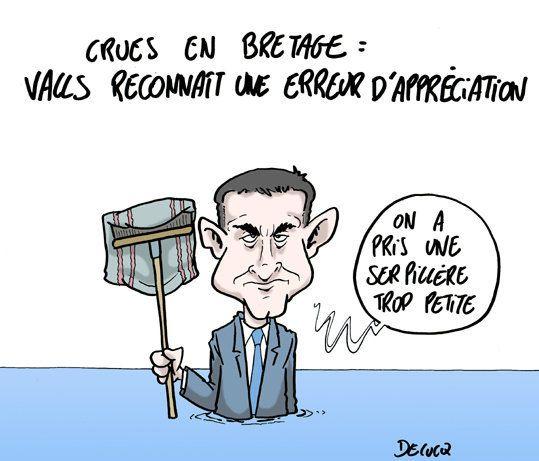 Crues en Bretagne: Valls reconnaît ses