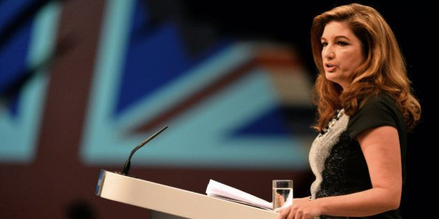 British business woman Karen Brady speaks during the Conservative Party Conference in Manchester, north-west...