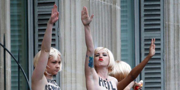 PHOTOS. Défilé du FN : Des Femen perturbent le discours de Marine Le