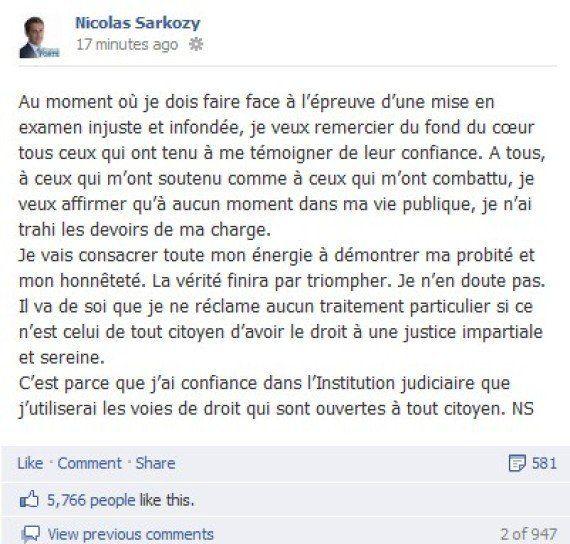 Affaire Bettencourt: Nicolas Sarkozy s'exprime publiquement sur Facebook après sa mise en