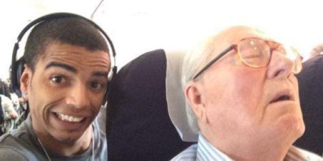 PHOTO. Jean-Marie Le Pen réclamerait 50.000 euros à Brahim Zaibat pour son selfie publié pendant les...