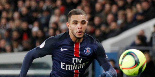 PSG's Layvin Kurzawa controls the ball during a French League One soccer Match, Paris Saint Germain against...
