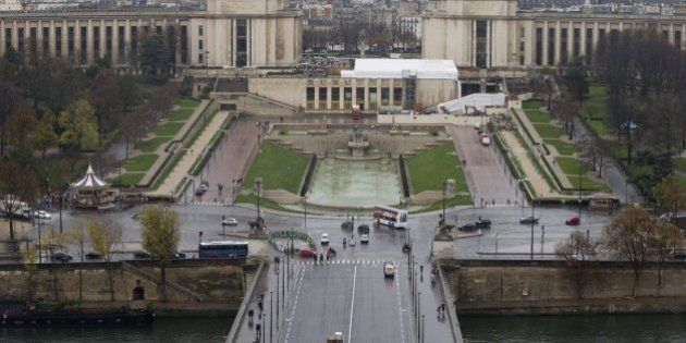 This picture taken on November 20, 2015 shows an aerial view of the Trocadero in Paris. AFP PHOTO / JOEL...