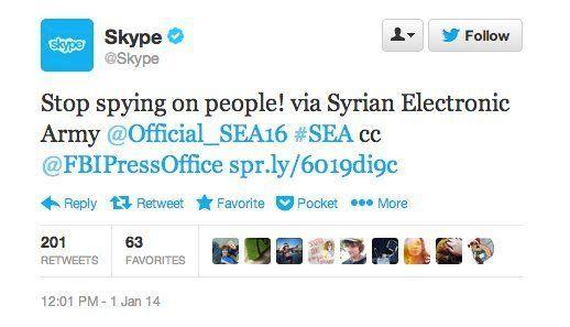 Piratage de Skype par l'armée électronique syrienne et de