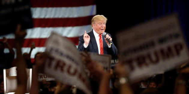 Republican presidential candidate Donald Trump speaks at a campaign event in Tampa, Fla., Monday, March...