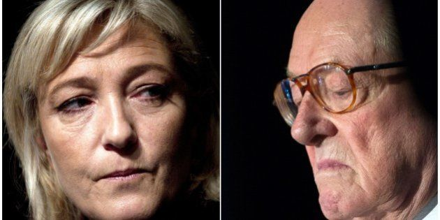 A combination made on April 10, 2015 shows files fictures of French far-right National Front (FN) party's...