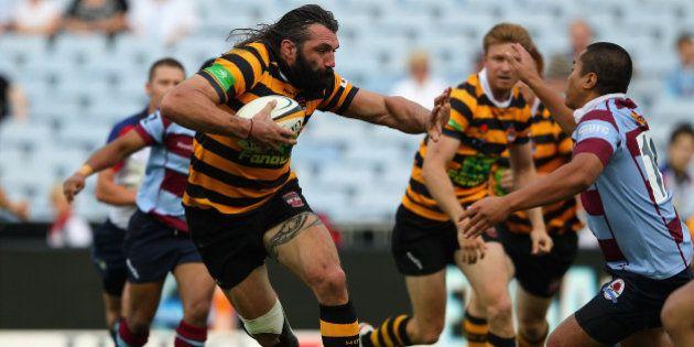 SYDNEY, AUSTRALIA - FEBRUARY 25: Sebastien Chabal of Balmain runs the ball during the Sydney Grade Rugby...