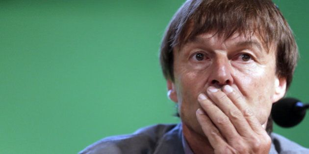 French TV host and environmental campaigner Nicolas Hulot listens during a press conference, on June...