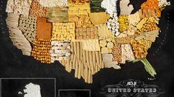 Des cartes de pays réalisées avec leur nourriture