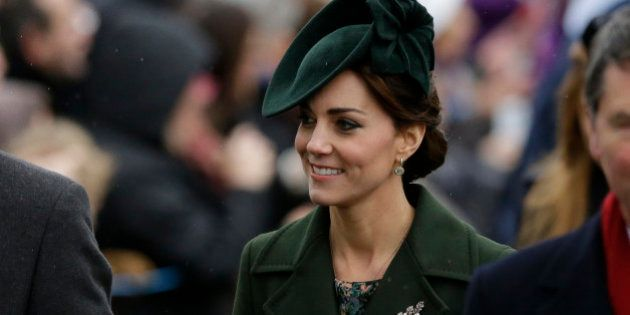 Kate the Duchess of Cambridge arrives with other members of the British royal family to attend their...