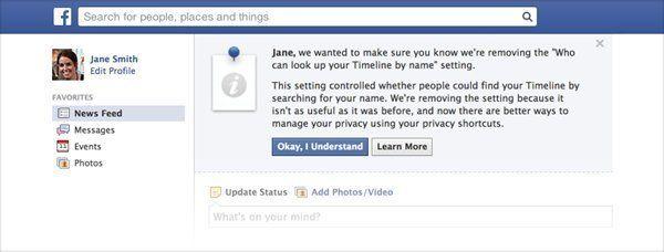 Facebook supprime l'option de confidentialité