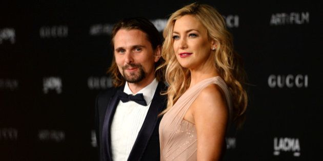 Matthew Bellamy, left, and Kate Hudson arrive at the LACMA Art + Film Gala at LACMA on Saturday, Nov....