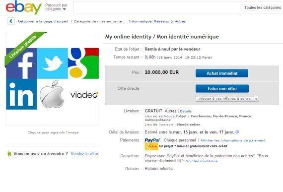 Vente sur ebay insolite: il met son identité numérique en vente sur le