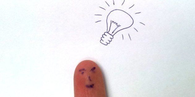 Finger with an idea represented as a