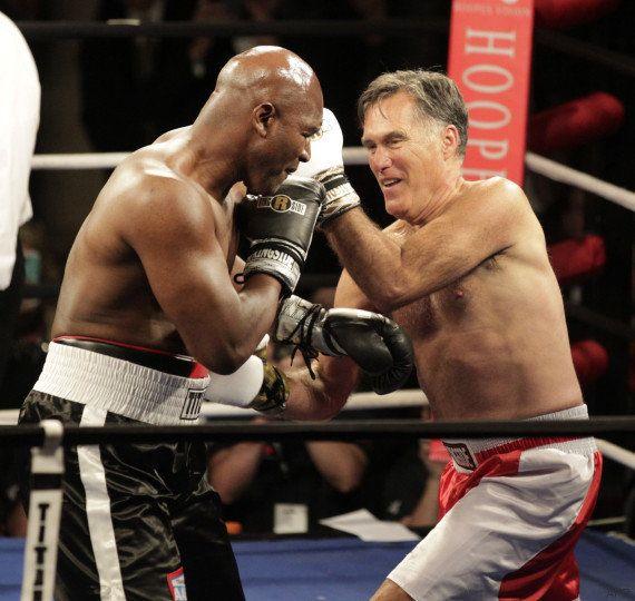 VIDÉO. Mitt Romney face au boxeur Evander Holyfield sur un ring pour la bonne