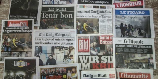 A picture taken on March 23, 2016 in Brussels shows the frontpage of several newspapers, one day after some 35 people were killed in bombings at Zaventem Airport and on a metro train. / AFP / PHILIPPE HUGUEN        (Photo credit should read PHILIPPE HUGUEN/AFP/Getty Images)