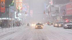 Times Square méconnaissable pendant la tempête