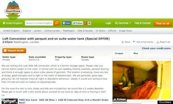 Location à Londres: une chambre de 3m2 à louer pour 50 euros la