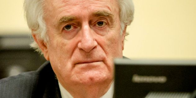 Bosnian Serb wartime leader Radovan Karadzic in the courtroom for the reading of his verdict at the International...