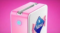 Nana lance une déchiqueteuse de serviettes hygiéniques