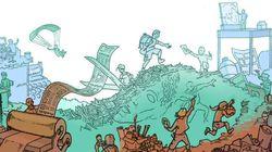 La une du HuffPost entièrement illustrée en dessins jeudi 28