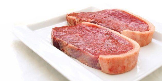 sirloin steaks on white plate