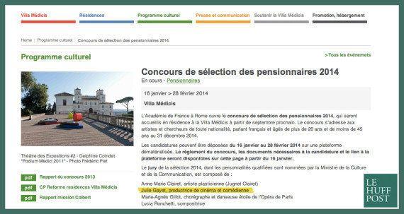 Villa Médicis: après la polémique sur Julie Gayet, le site Internet modifie discrètement son communiqué...
