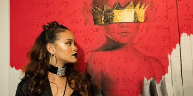 LOS ANGELES, CA - OCTOBER 07: Singer Rihanna at Rihanna's 8th album artwork reveal for 'ANTI' at MAMA...