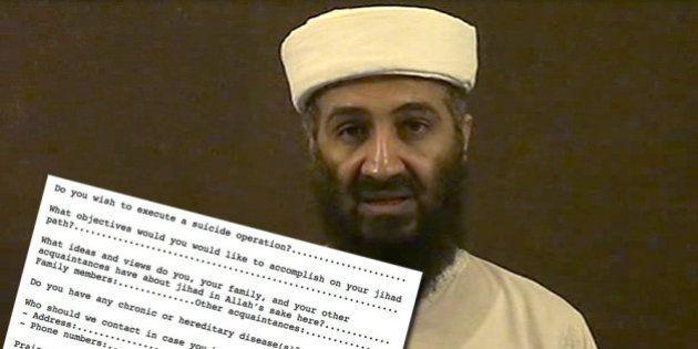 Al Qaïda: retrouvé chez Ben Laden, un surprenant questionnaire d'embauche pour aspirants
