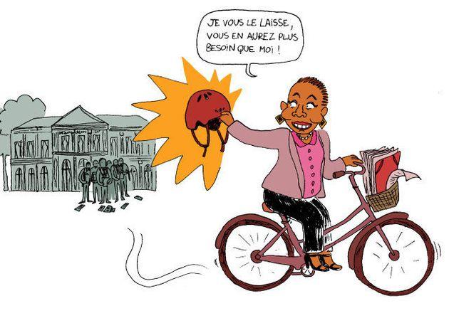 VIDÉO. Christiane Taubira est repartie à vélo du ministère de la Justice, après la passation de
