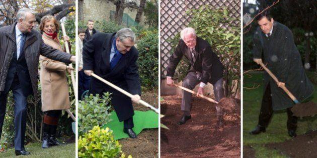PHOTOS. Manuel Valls plante un arbre à Matignon: quand les premiers ministres jouent au