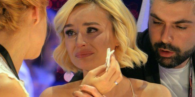 Polina Gagarina representing Russia, centre, reacts as the results start to come in during the final...