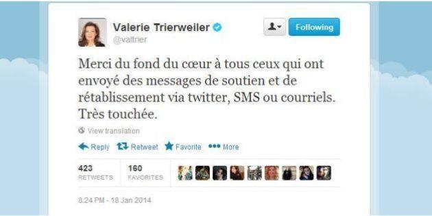 Valérie Trierweiler sur Twitter remercie les personnes qui l'ont