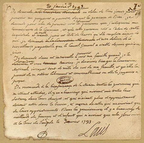 Lettre de Louis XVI avant son exécution:
