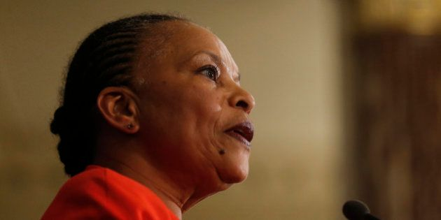 Outgoing French Justice Minister Christiane Taubira gives a final news conference at the Ministry in...