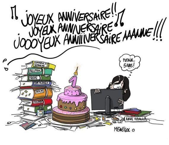 PHOTOS. Les caricatures de NKM pour fêter le 1er anniversaire d'Hidalgo à la mairie de