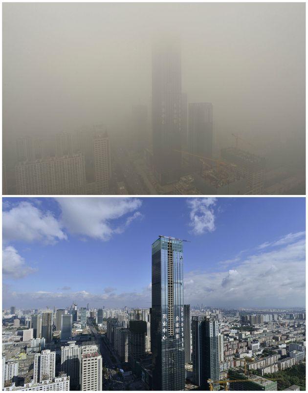 PHOTOS. Pollution: en Chine, une métropole paralysée sous un épais nuage de