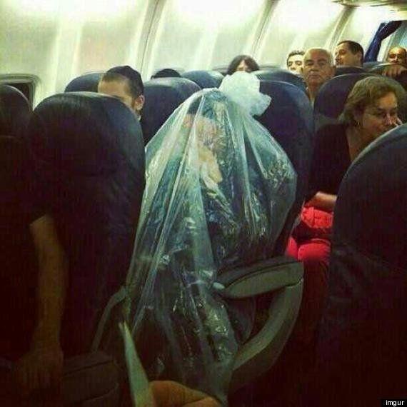 Le passager d'un avion enfermé dans un sac plastique intrigue les internautes sur