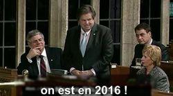 Atteint de la maladie de Charcot, il présente avec humour sa loi pour rendre l'hymne canadien moins