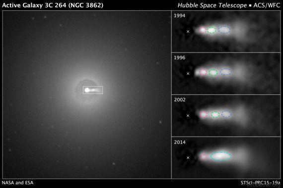 VIDÉO. Hubble dévoile de nouvelles images d'un jet intergalactique émis par un trou noir (ou l'Étoile...
