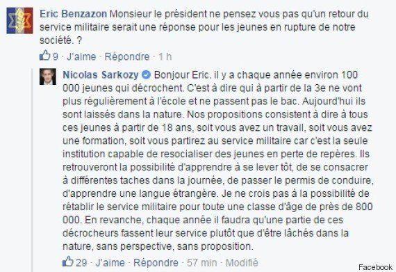Nicolas Sarkozy pour le rétablissement du service militaire pour les