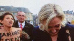 Marine Le Pen interpellée par des Femen en