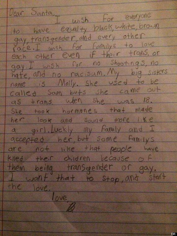 Lettre au père Noël: le message d'amour et de tolérance d'un petit garçon dont le frère est