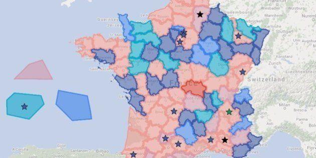 Élections départementales 2015: la carte des 15 départements