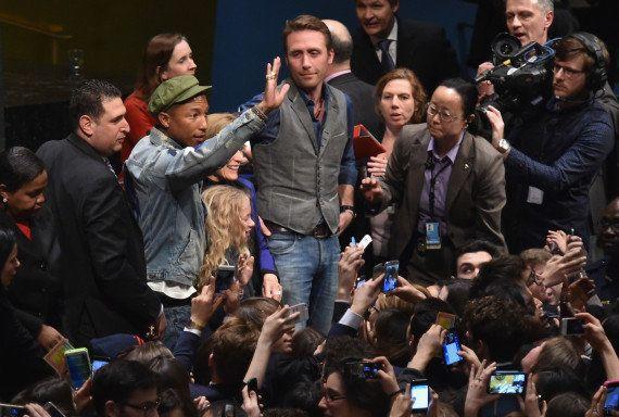 PHOTOS. Pharrell Williams défend l'environnement à l'ONU avec Philippe
