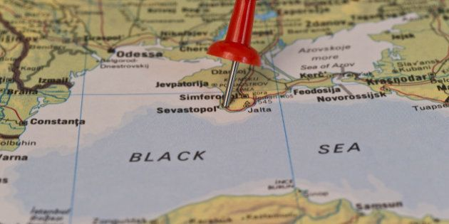 Sevastopol marked with red pushpin on map. Selected focus on Sevastopol and