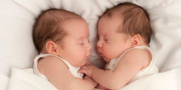 7 week newborn baby girls lie face to face asleep in white background